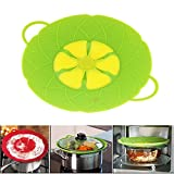 """Multi-function Cooking Tools Flower Cookware Parts Green Silicone Boil Over Spill Lid Stopper Oven Safe for Pot/pan Cover 10"""""""