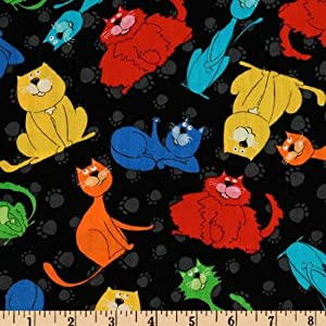 44'' Wide Happy Cats Smiling Cats Black Fabric By The Yard