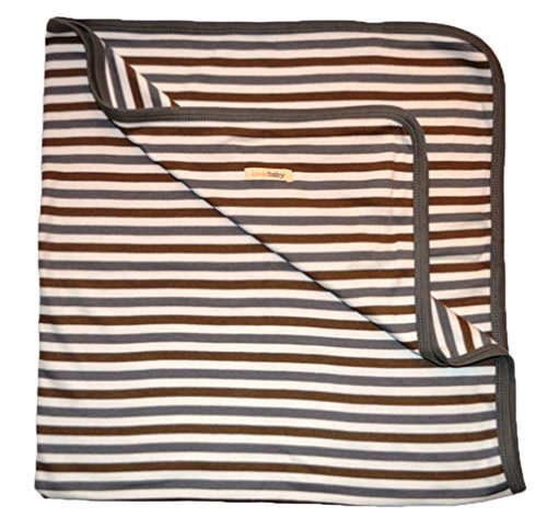 L'Ovedbaby Unisex-Baby Newborn Organic Swaddling Blanket, Gray Stripe, One Size front-839558