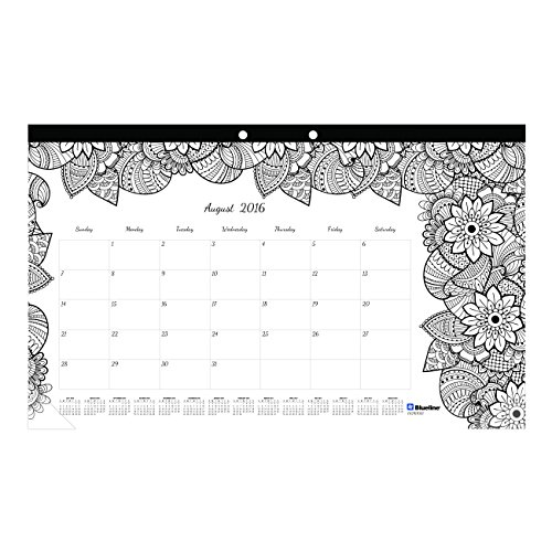 Blueline 2017 Academic Monthly Coloring Desk Pad, Botanica, August to ...