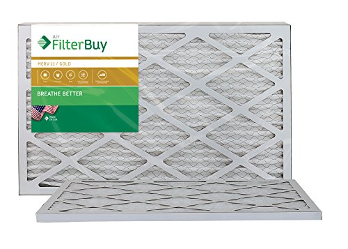 AFB Gold MERV 11 12x27x1 Pleated AC Furnace Air Filter. Pack of 2 Filters. 100% produced in the USA.