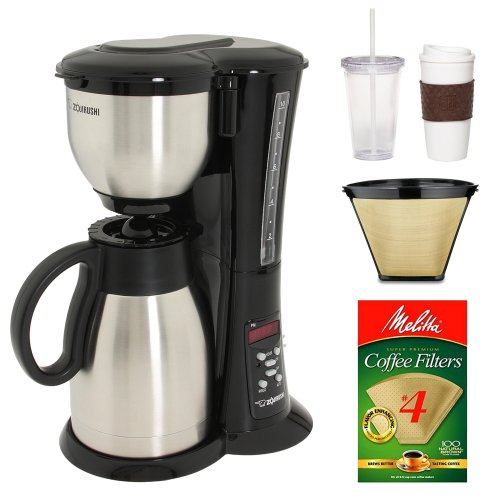 Zojirushi EC-BD15 Fresh Brew Stainless Steel 10-cup Thermal Carafe Coffee Maker with #4 Cone ...