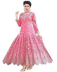 Fashion Storey Pink Georgette Semi-Stitched Anarkali Suit