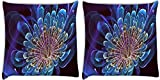Snoogg Neon Petals Pack Of 2 Digitally Printed Cushion Cover Pillows 14 X 14 Inch