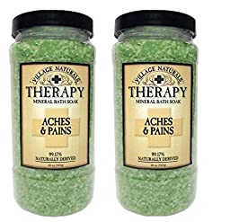 Village Naturals Therapy Aches & Pains Mineral Bath Soak 20 oz (2 Containers)