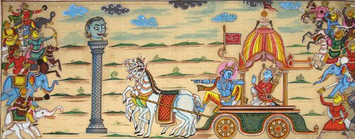 Gita Upadesha – Paata Painting on Tussar Silk Fabric
