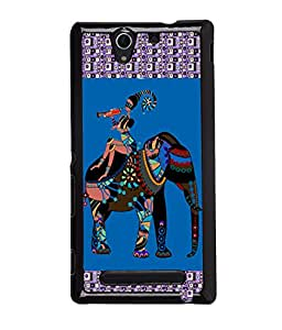 Fuson Colorful Elephant Pattern Back Case Cover for SONY XPERIA C3 - D3855