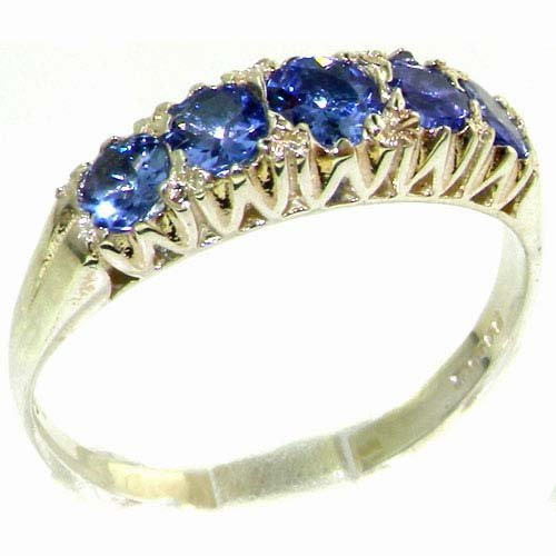 Solid English Sterling Silver Natural Tanzanite Vintage Style Eternity Ring - Size 11.75 - Finger Sizes 4 to 12 Available - Suitable as an Anniversary ring, Engagement ring, Eternity ring, or Promise ring