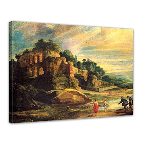 "Bilderdepot24 Leinwandbild Peter Paul Rubens - Alte Meister ""Landschaft mit den Ruinen des Hügels Palatin in Rom "" 70x50cm - fertig gerahmt, direkt vom Hersteller"