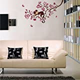 UberLyfe Monkey on Pink Floral Branch Wall Sticker (Wall Covering Area: 60cm x 100cm)