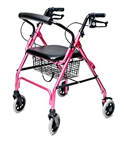 Lumex Walkabout Lite Four Wheel Rollator, Pink