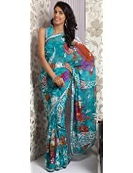 Utsav Fashion Women's Teal Faux Georgette Saree With Blouse