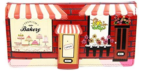 Shagwear portafoglio per giovani donne pasticceria rosso/ Bakery, Large Purse(WALT 0549Z):
