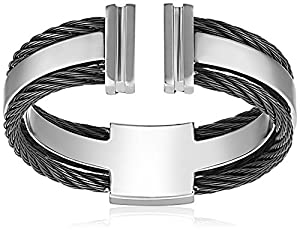 Men's Stainless Steel Open-Ended Plain Wedding Band with Black Cable Detail, Size 9