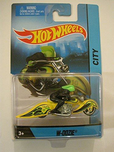 2014 Hot Wheels Hw City W-OOZie Motorcycle with Rider Green Die-cast Collectible, Yellow & Black Flames Chopper Motorcycle - 1