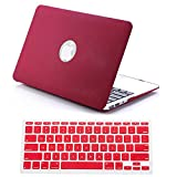 "Macbook Air 13 Case, Dealgadgets Rubberized QuickSand Surface Hard Shell Case Cover for 2014 New Macbook Air 13"" 13.3"" A1369 & A1466 with Silicone Keyboard Cover Skin Stickers Protector QuickSand Red"