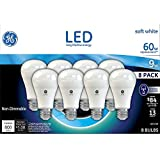 GE Lighting LED A19 Light Bulb with Medium Base, 9-Watt, Soft White, 8-Pack, Non-dimmable