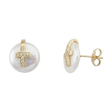 18k gold pearl earrings coín 10-11mm. Cross zirconia [5500]