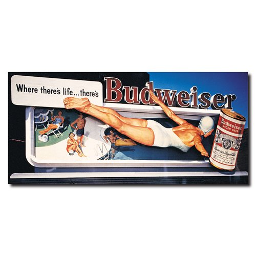 Trademark Fine Art Vintage Ad - Pool by Budweiser Canvas Wall Art, 14x30-Inch lomond fine art metallic