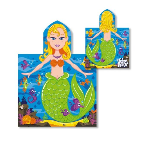 CHILDRENS KIDS BOYS GIRLS HOODED BEACH BATH SWIMMING TOWEL PONCHO MERMAID - ONE SIZE