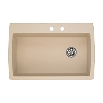 Blanco 441214-2 Diamond 2-Hole Single-Basin Drop-In Granite Kitchen Sink, Biscotti