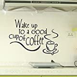 JB JJ011 Wall Stickers Black Text Words for Home Cafe Shop Decoration ... (wake up to a good cup of coffee)