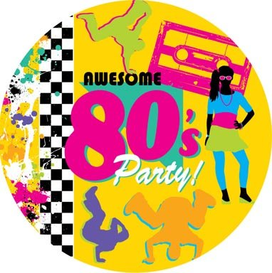 Awesome 80's Party Paper Plates x 8 (23cm) 9 inch