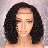 Jessica Hair Short 13x6 Lace Front Human Hair Wigs Pre Plucked With Baby Hair Curly Brazilian Remy Hair Lace Front Bob Wigs (8 inch with 150% density) (Color: 13x6 Lace Front, Tamaño: 8 inch with 150%density)