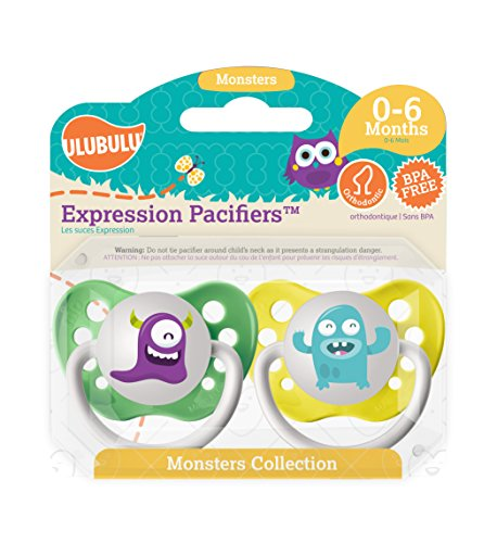 Ulubulu Pacifiers for Unisex, Purple and Light Blue Monster, 0-6 months - 1