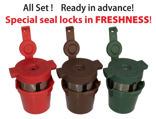 EZ Way pod filter, K-cup alternative, permanent coffee filter for keurig,reusable,keeps your coffee fresh (set of three)