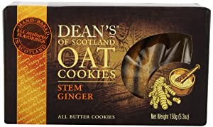 Dean's of Scotland Stem Ginger Oat Cookies, 5.3-Ounce Boxes (Pack of 4)