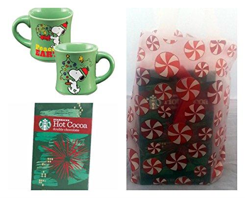 "Holiday Hot Chocolate Ornament And Coffee Mug 3 Item Combo Bundle - 1 Peanuts ""Peace On Earth"" 12 Oz. Ceramic Mug, 1 1 Oz. Starbucks Holiday Double Chocolate Ornament And 1 Holiday Theme Gift Bag"