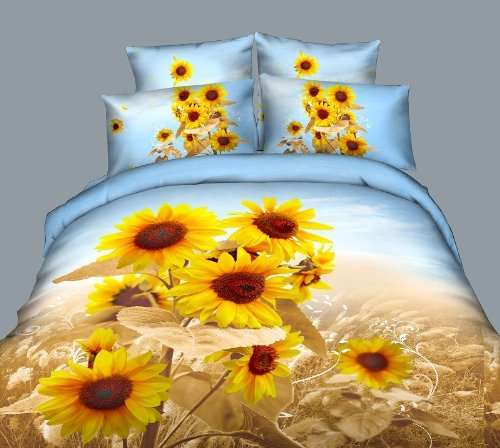 Joybuy Home Textile, 3D Sunflower Bedding Sets High Quality No Fade ,5Pcs Bed Sets,Queen Size Bedding Set,With 3Kg White Queen Size Comforter/Quilt/Duvet