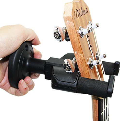 Yafeco Guitar Hanger Auto Lock Rack Hook Holder Wall Mount Bracket Home Studio Display Fits All Size Guitar, Acoustic, Bass, Mandolin, Banjo Easy Installation Compact plastic black