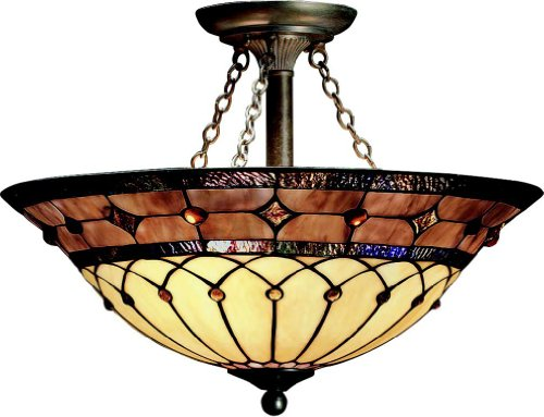 Kichler Lighting 69048 3-Light Dunsmuir Art Glass Semi-Flush Ceiling Light, Art Nouveau Bronze Finish