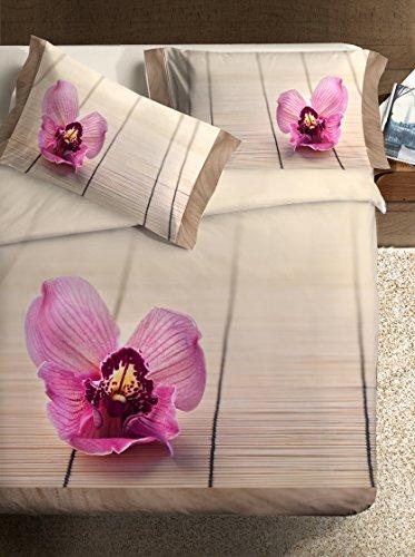 Ipersan Zen Fine-Art Parure Copripiumino Fotografico, Piazzato, Cotone, Beige/Rosa, Matrimoniale