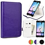 Cooper Cases(TM) Engage C360 Motorola Droid Maxx/Razr HD/Razr Maxx HD/Ultra Smartphone Wallet Case in Purple/White (Rotating Frame for Rear-camera Access; Viewing Stand; 3 Card Slots; 2 Slip Pockets; Magnetic Cover Lock)
