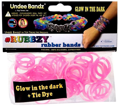 Undee Bandz Rubbzy 100 WHITE & PINK GLOW-in-the-DARK Tie-Dye Rubber Bands with Clips