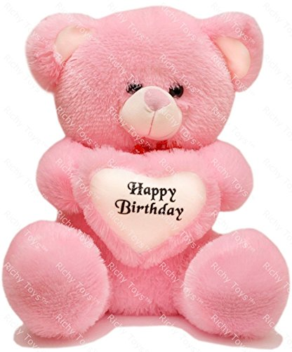 Richy Toys 2 Feet Around With Birthday Heart Stuffed Soft Plush Toy Kids Teddy Bear (Pink)