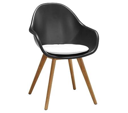 Dehner Designer Chaise Frida, env. 85x 58x 45cm, avec coussin, plastique/bois de teck FSC Noir