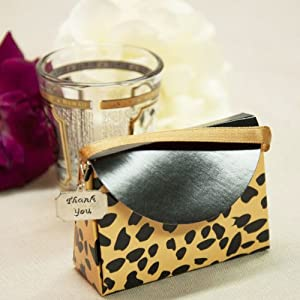 "Purse-shaped Favor Box w/ ""Thank You"" Charm (10 Count) - Leopard Print"