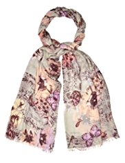 M&S Collection Lightweight Vintage Style Floral Scarf