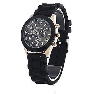 Unisex Geneva Silicone Jelly Gel Quartz Analog Sports Wrist Watch (Black)