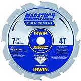 IRWIN Tools Polycrystalline Diamond-Tipped Fiber Cement Circular Saw Blade, 7 1/4-inch, 4-Tooth (4935473)