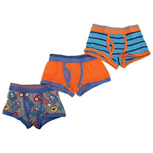 Childrens/Kids Boys Trunk Fit Boxer Shorts Underwear (Pack Of 3) (11-12 Years) (Blue/Orange/Grey)