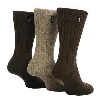 3 Pairs Mens Brown Jeep Wool Rich Hiking walking Socks 6-11 JE1