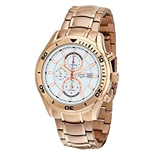 OMAX Men's Chronograph Rose Gold Watch White