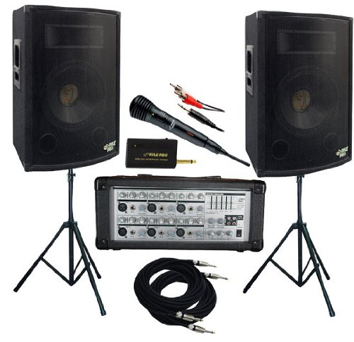 PylePro - 1600 Watt Complete DJ Speaker System - 15'' Two-Way Powered Mixer/Stands/MIC/Cables (Dj Package Complete With Speakers compare prices)
