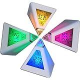 Reloj despertador digital piramidal DIGIFLEX con 7 colores LED