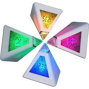 TRIXES Réveil horloge digitale pyramide avec 7 LED aux couleurs changeantes